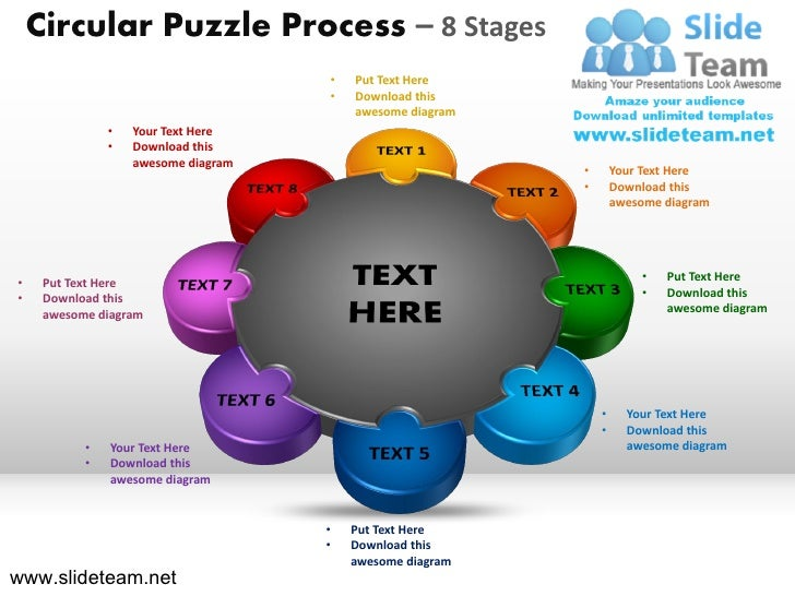 Circular Puzzle Process – 8 Stages                                     •   Put Text Here                                  ...
