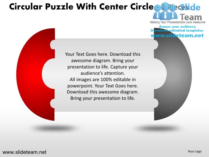 Cycle circular round jigsaw maze piece puzzle with center 2 and 3 powerpoint ppt templates.