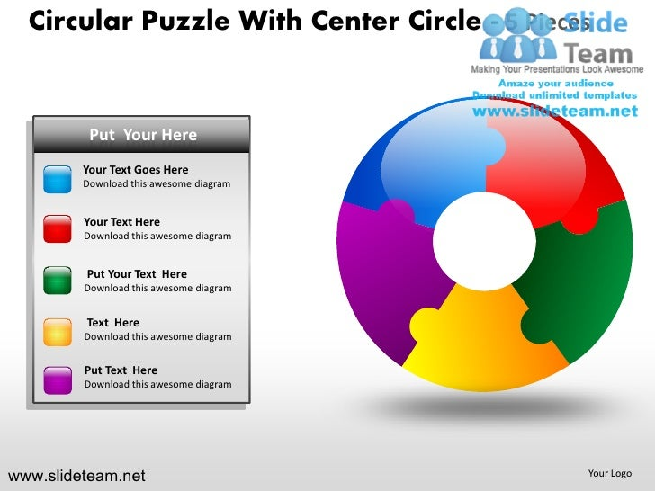 Cycle circular round jigsaw maze piece puzzle with center 5 powerpoint presentation templates.
