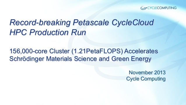 Cycle Computing Record-breaking Petascale HPC Run