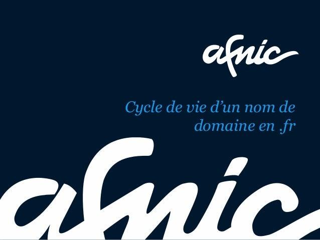 Cycle de vie d'un nom de domaine en .fr