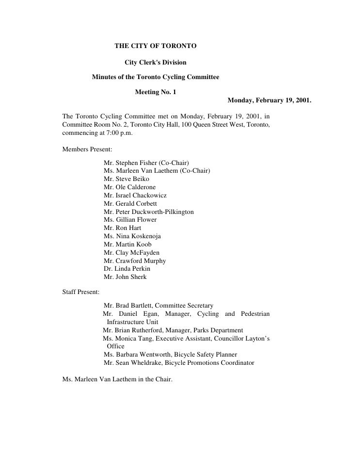 THE CITY OF TORONTO                          City Clerk's Division             Minutes of the Toronto Cycling Committee   ...