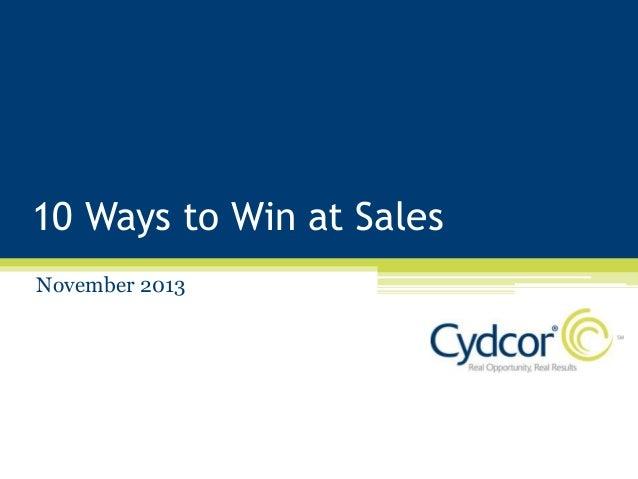 10 Ways to Win at Sales November 2013