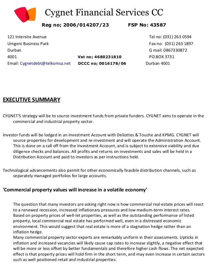 Cygnet Financial Services CC Reg no; 2006/014207/23   FSP No: 43587     <ul><li>121 Intersite Avenue    Tel no: (031) 263 ...
