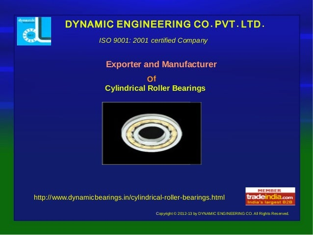 Cylindrical roller bearings Exporter,Manufacturer,DYNAMIC ENGINEERING