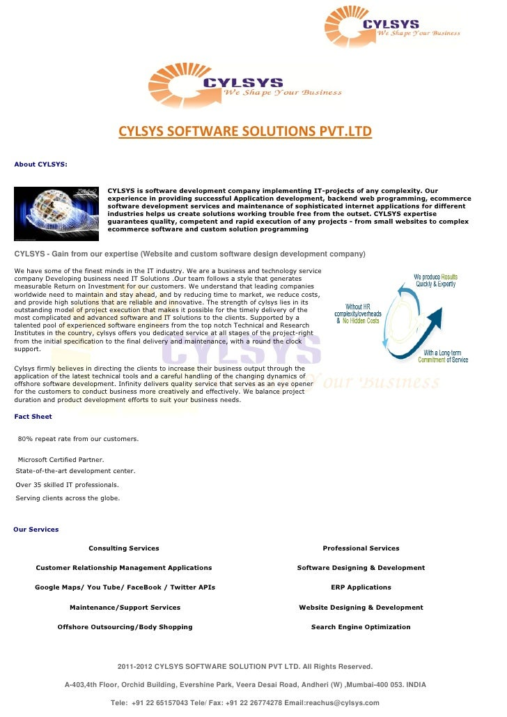 Cylsys Software Solution Profile