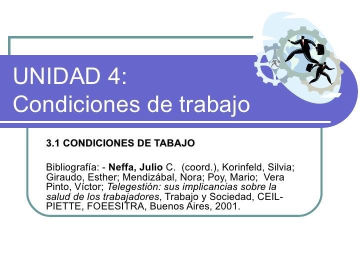 UNIDAD 4:  Condiciones de trabajo  3.1 CONDICIONES DE TABAJO   Bibliografía:  -  Neffa, Julio  C.  (coord.), Korinfeld, Si...