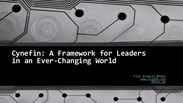 Cynefin: A Framework for Leaders in an Ever-Changing World Ilio krumins-Beens www.iliokb.com @Ilio_kb