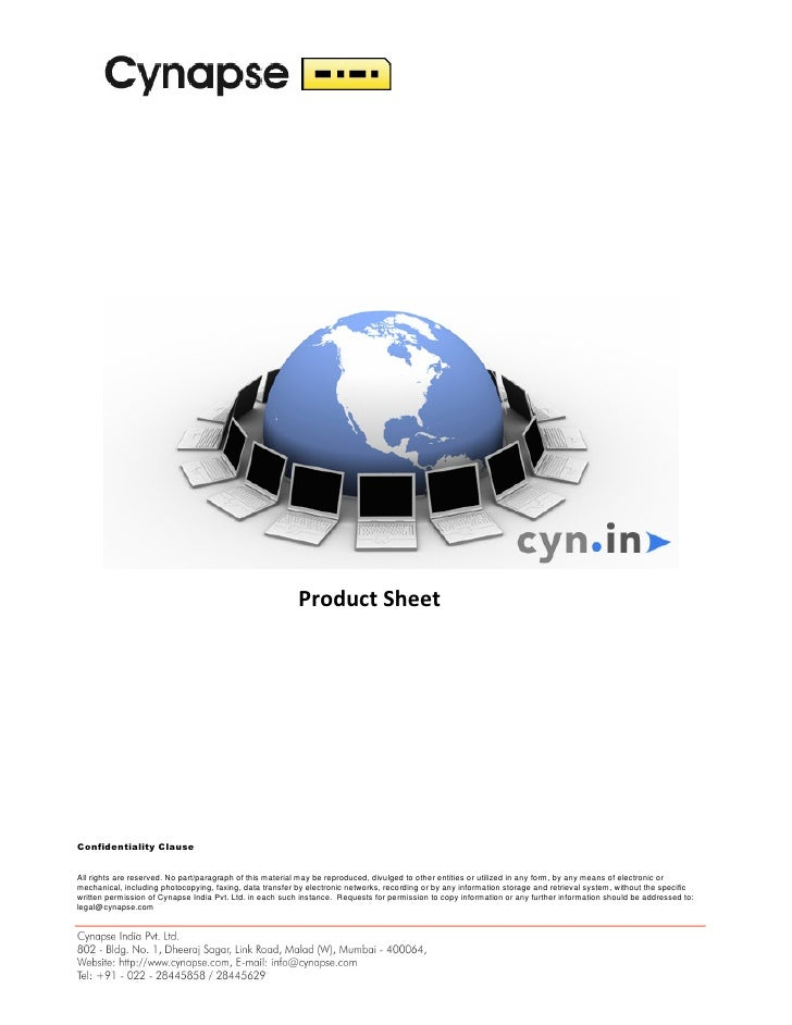 Product Sheet     Confidentiality Clause   All rights are reserved. No part/paragraph of this material may be reproduced, ...
