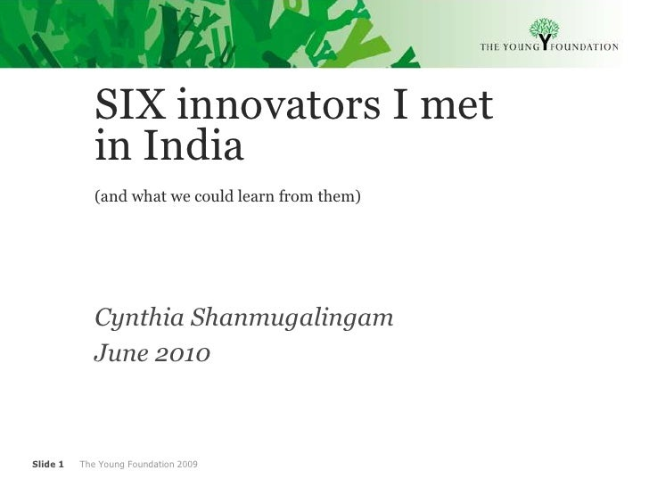 Cynthia shanmugalingam on social innovation in india