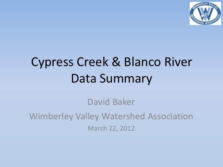 Cypress Creek & Blanco River      Data Summary             David BakerWimberley Valley Watershed Association             M...