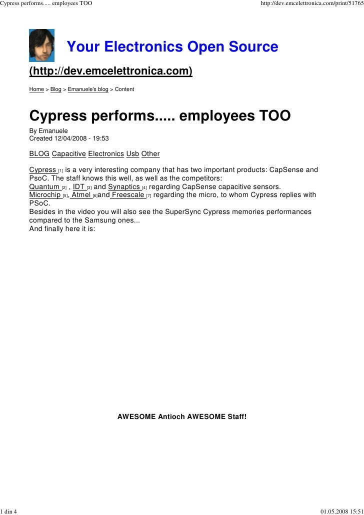 Cypress performs..... employees TOO                                                http://dev.emcelettronica.com/print/517...