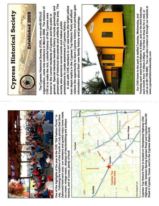 Cypress historical society brochure