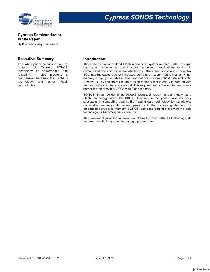 Cypress SONOS Technology  Cypress Semiconductor White Paper By Krishnaswamy Ramkumar    Executive Summary                 ...