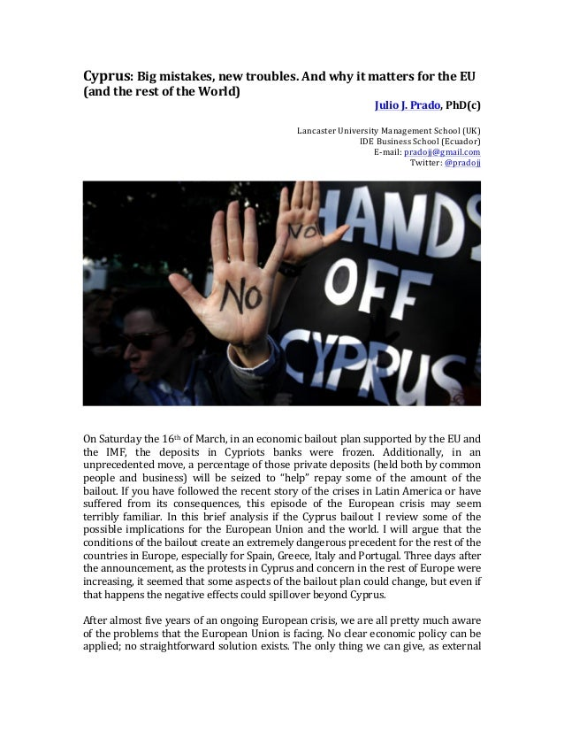 Cyprus Bailout: A big risk for Europe (and the World)