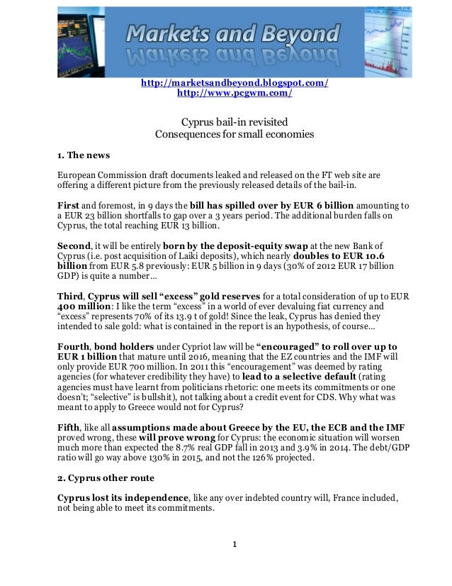 Cyprus bail in revisited - consequences for small economies