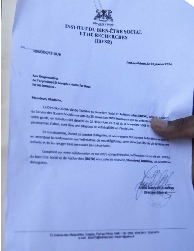 Lettre de l'IBESR ordonant la fermeture de l'Orphelinat Saint-Joseph de Delmas 91.-