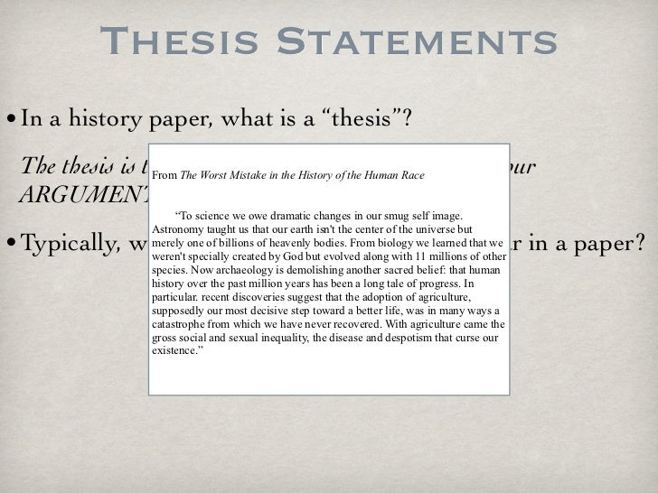 History Thesis Statement?