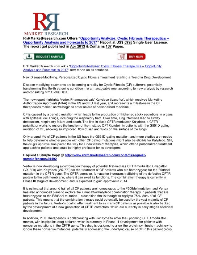 """RnRMarketResearch.com Offers """"OpportunityAnalyzer: Cystic Fibrosis Therapeutics –Opportunity Analysis and Forecasts to 201..."""