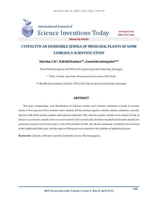 Harisha C.Ret al., IJSIT, 2013, 2(2), 118-128IJSIT (www.ijsit.com), Volume 2, Issue 2, March-April 2013118CYSTOLYTH AN INC...