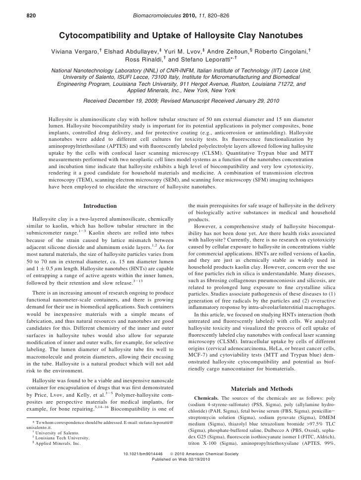820                                                   Biomacromolecules 2010, 11, 820–826                   Cytocompatibil...