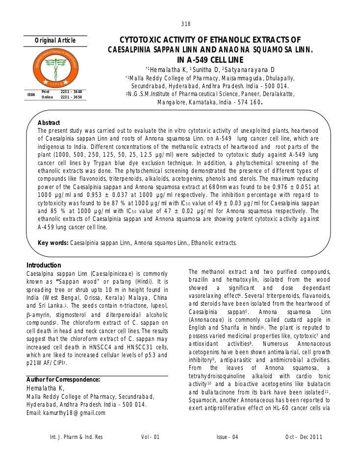 Cytotoxic activity of ethanolic extracts of caesalpinia sappan linn and anaona squamosa linn in a549 cell line