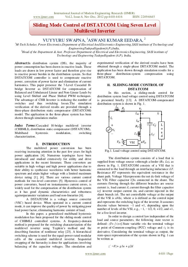 Sliding Mode Control of DSTATCOM Using Seven Level  Multilevel Inverter