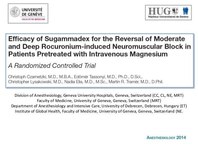 7ème Journée de la Recherche Clinique : Efficacy of Sugammadex...