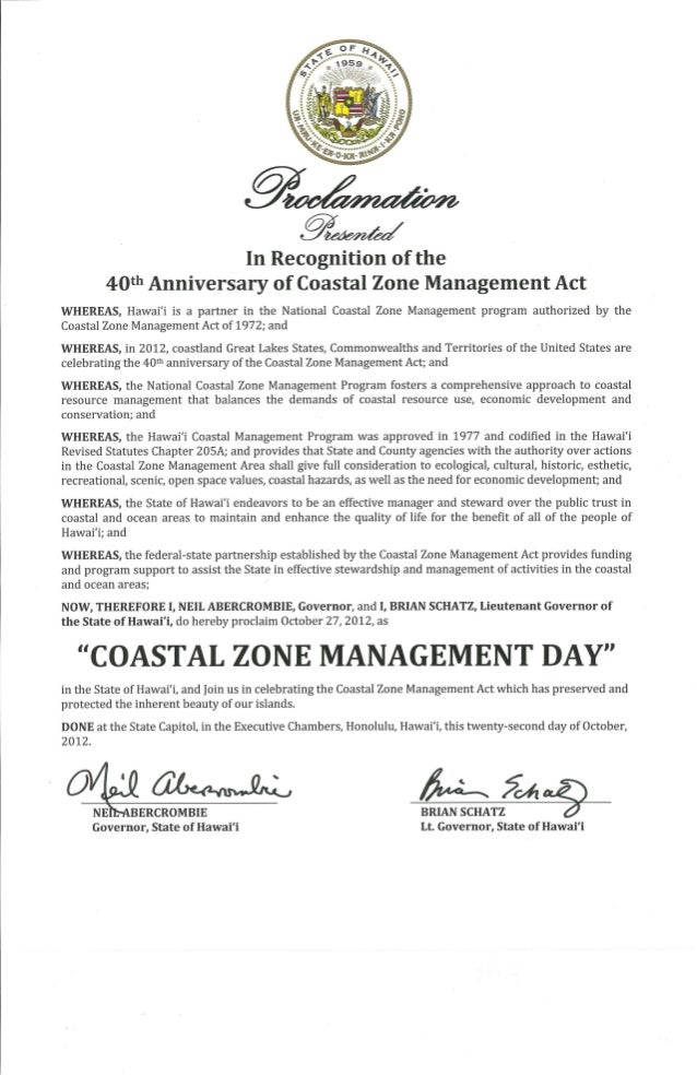 Hawaii Gov. and Lt. Gov. Proclamation In the Recognition of the 40th Anniversary of the Coastal Zone Management Act