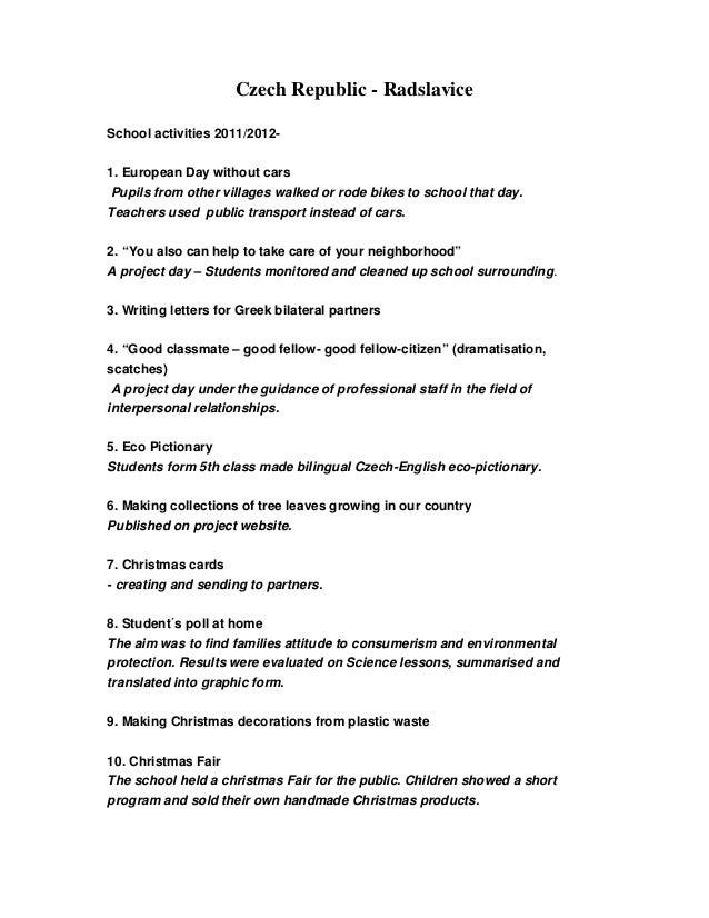 Cz summary of school activities  2011 2012
