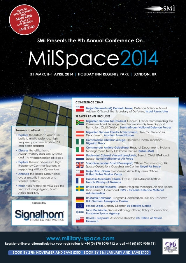 SMi Group's 9th annual MilSpace 2014 conference