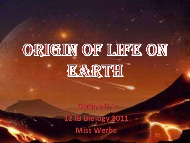 origin of life on earth pdf
