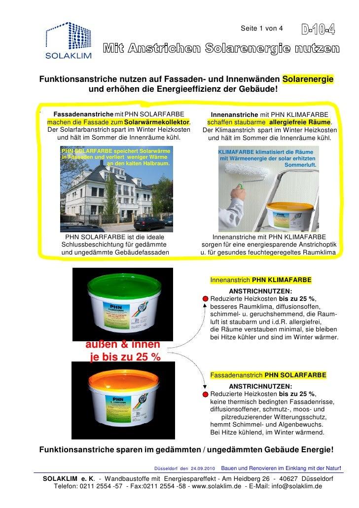 Seite 1 von 4Funktionsanstriche nutzen auf Fassaden- und Innenwänden Solarenergie           und erhöhen die Energieeffizie...