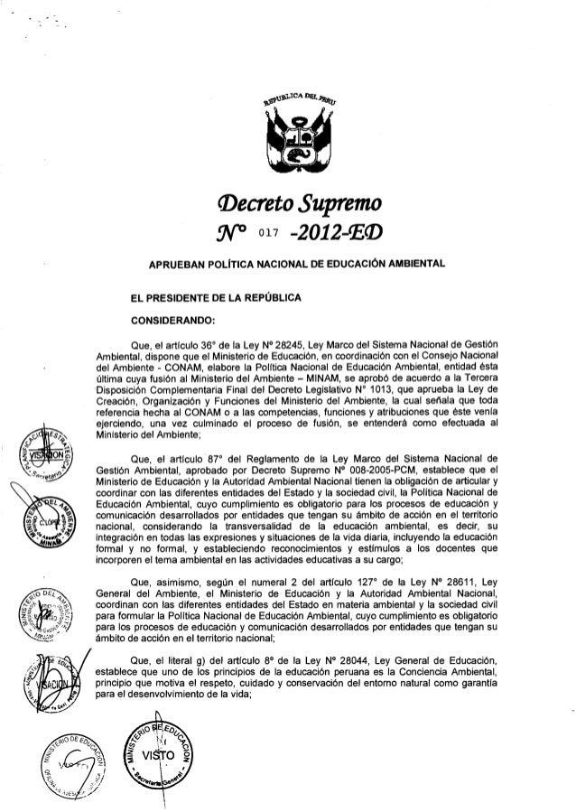 LEY DE POLÍTICA AMBIENTAL PERU