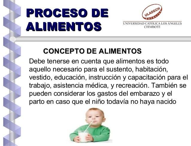 PROCESO DEPROCESO DE ALIMENTOSALIMENTOS CONCEPTO DE ALIMENTOSCONCEPTO DE ALIMENTOS Debe tenerse en cuenta que alimentos es...