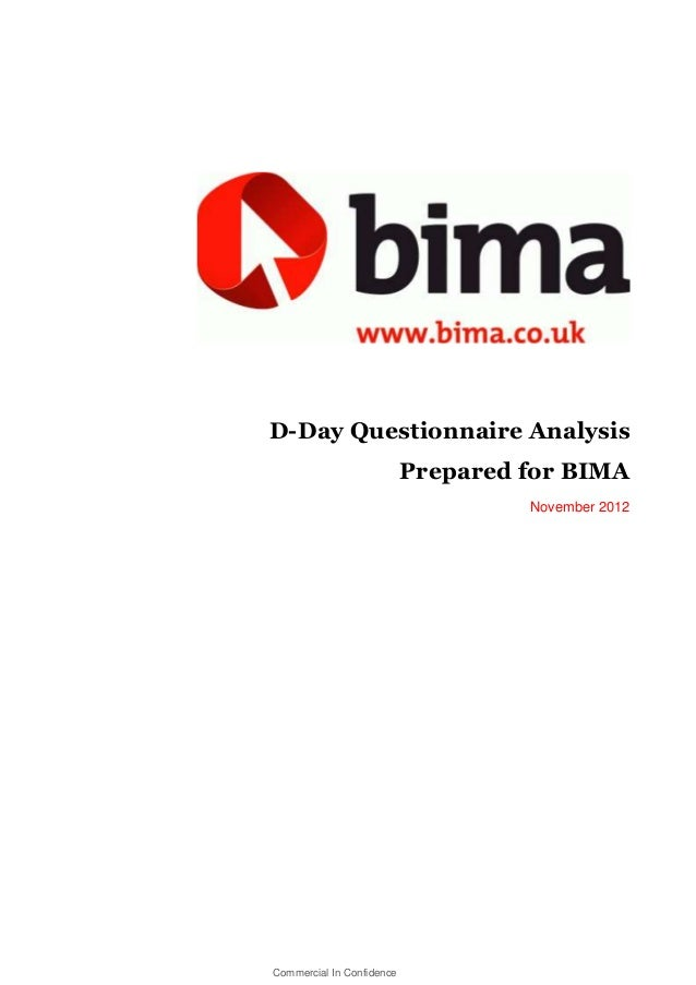BIMA DDAY QUESTIONNAIRE ANALYSIS REPORT