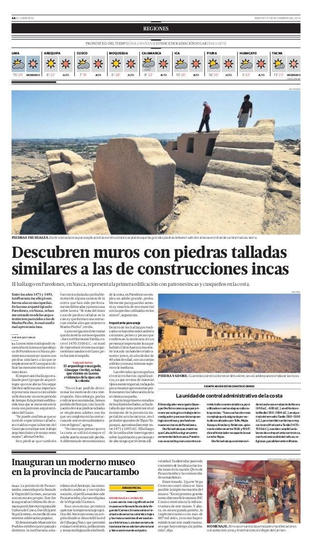 A8.ELCOMERCIO MARTES17DESETIEMBREDEL2013 REGIONES Cusco. La provincia de Paucar- tambo,conocidaporlafiestade laVirgendelCar...