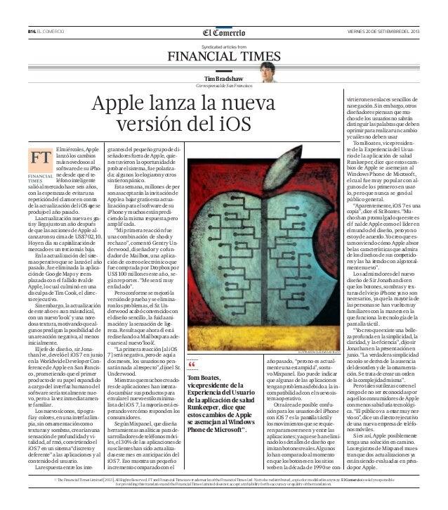 B16. EL COMERCIO VIERNES 20 DE SETIEMBRE DEL 2013 Apple lanza la nueva versión del iOS ILUSTRACIÓN:CLAUDIAGASTALDO TimBrad...