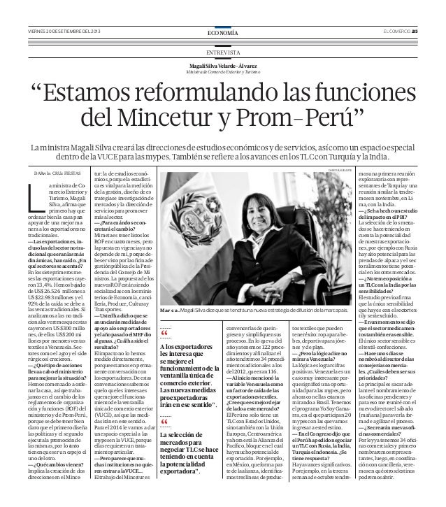 """Magali Silva: """"Estamos reformulando las funciones del Mincetur y Prom-Perú"""""""