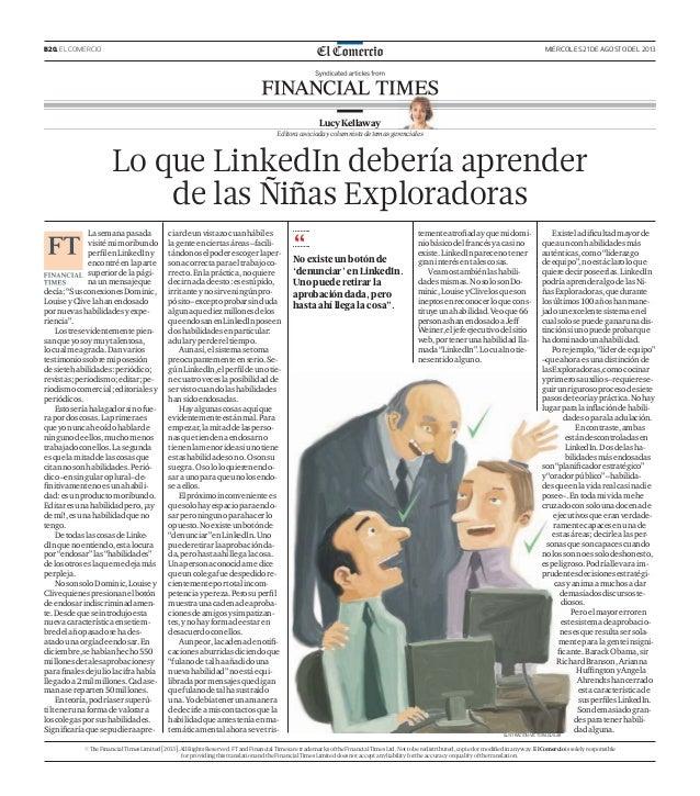 B20. EL COMERCIO MIÉRCOLES 21 DE AGOSTO DEL 2013 Lasemanapasada visitémimoribundo perfilenLinkedIny encontréenlaparte super...
