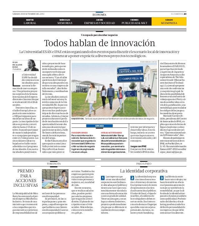 SÁBADO 21 DE SETIEMBRE DEL 2013 EL COMERCIO .B9ECONOMÍA Unespacioparaincubarnegocios L aUniversidad ESÁNhadecidi- docomenz...