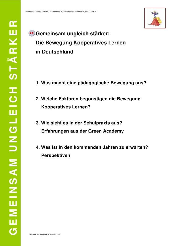 Gemeinsam ungleich stärker: Die Bewegung Kooperatives Lernen in Deutschland (Folie 1)  GEMEINSAM UNGLEICH STÄRKER         ...