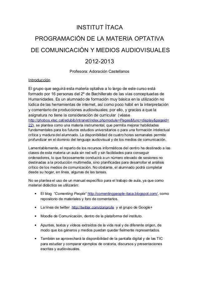 Programación de la materia optativa de comunicación y medios audiovisuales 2012-2013