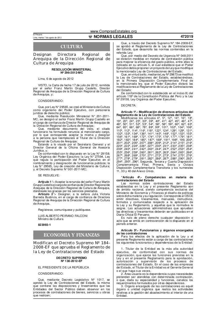 www.ComprasEstatales.orgEl PeruanoLima, martes 7 de agosto de 2012              NORMAS LEGALES                            ...