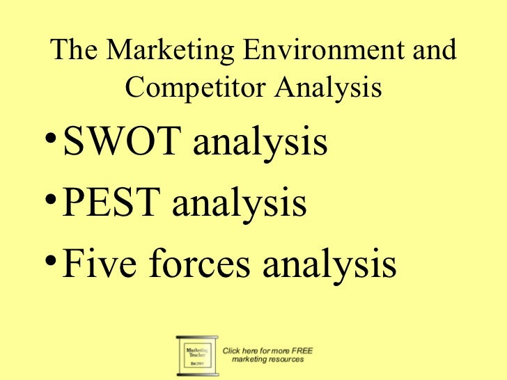 The Marketing Environment and     Competitor Analysis• SWOT analysis• PEST analysis• Five forces analysis