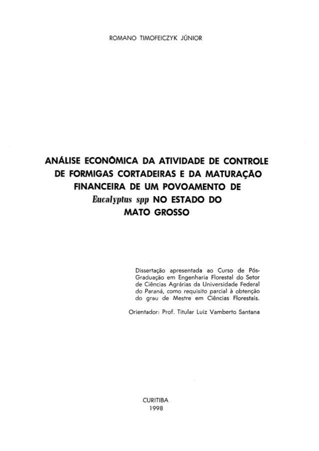 ROMANO TIMOFEICZYK JÚNIORANÁLISE ECONÔMICA DA ATIVIDADE DE CONTROLEDE FORMIGAS CORTADEIRAS E DA MATURAÇÃOFINANCEIRA DE UM ...