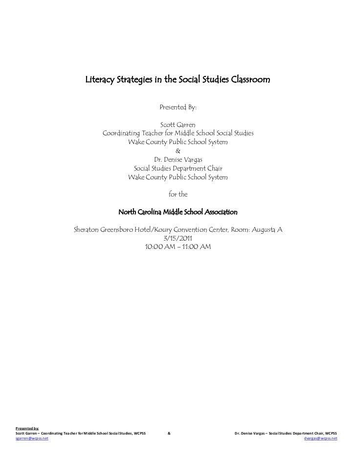 Literacy Strategies in the Social Studies Classroom