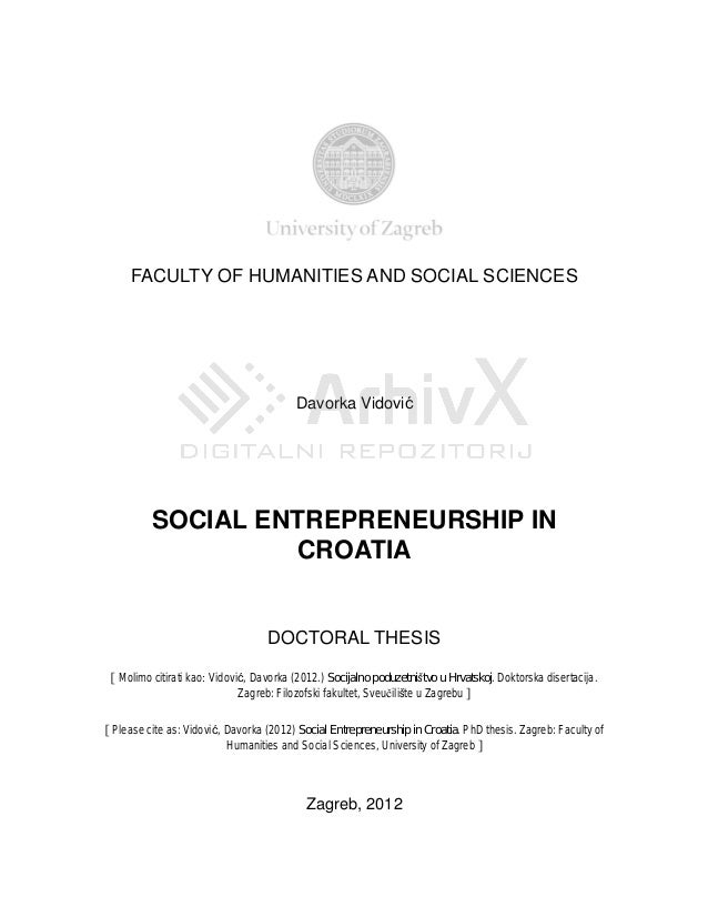 FACULTY OF HUMANITIES AND SOCIAL SCIENCES                                         Davorka Vidovi          SOCIAL ENTREPREN...