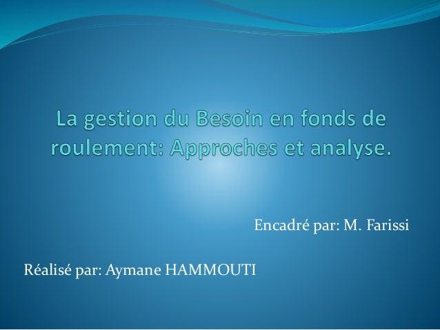 Encadré par: M. Farissi Réalisé par: Aymane HAMMOUTI
