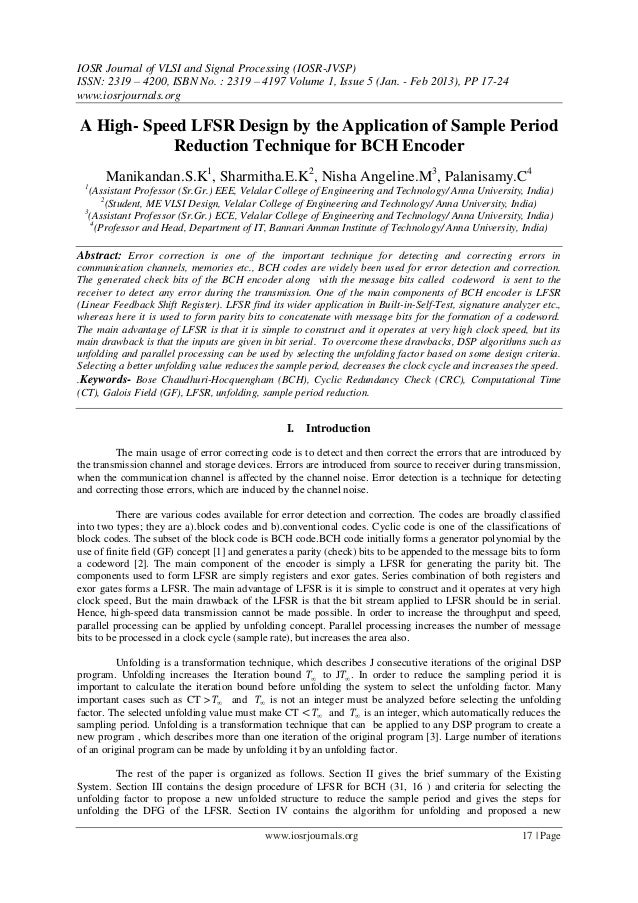 IOSR Journal of VLSI and Signal Processing (IOSR-JVSP) ISSN: 2319 – 4200, ISBN No. : 2319 – 4197 Volume 1, Issue 5 (Jan. -...